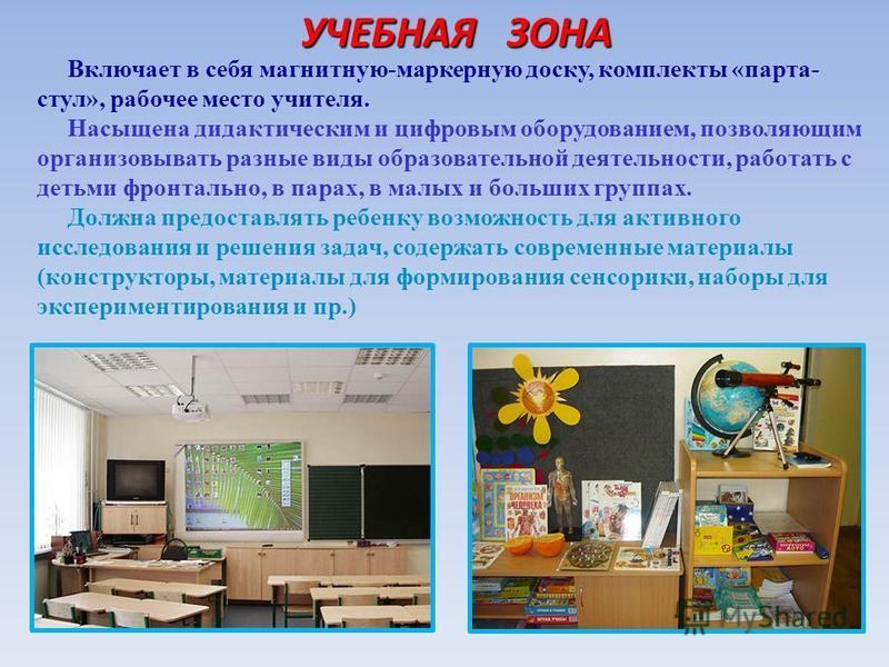 УЧЕБНАЯ ЗОНА УЧЕБНАЯ ЗОНА Включает в себя магнитную-маркерную доску, комплекты «парта- стул», рабочее место учителя. Насыщена дидактическим и цифровым оборудованием, позволяющим организовывать разные виды образовательной деятельности, работать с деть