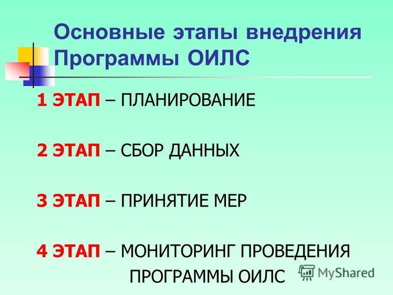 Основные этапы внедрения Программы ОИЛС 1 ЭТАП – ПЛАНИРОВАНИЕ 2 ЭТАП – СБОР ДАННЫХ 3 ЭТАП – ПРИНЯТИЕ МЕР 4 ЭТАП – МОНИТОРИНГ ПРОВЕДЕНИЯ ПРОГРАММЫ ОИЛС