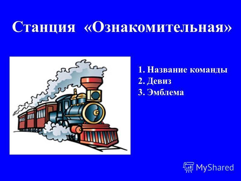 Станция «Ознакомительная» 1. Название команды 2. Девиз 3.Эмблема