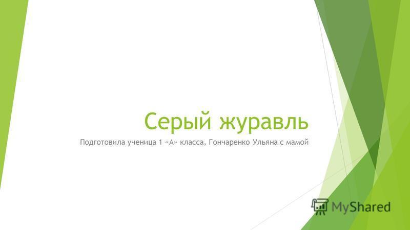 Серый журавль Подготовила ученица 1 «А» класса, Гончаренко Ульяна с мамой