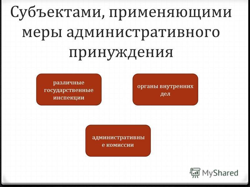 Субъектами, применяющими меры административного принуждения различные государственные инспекции органы внутренних дел административные комиссии