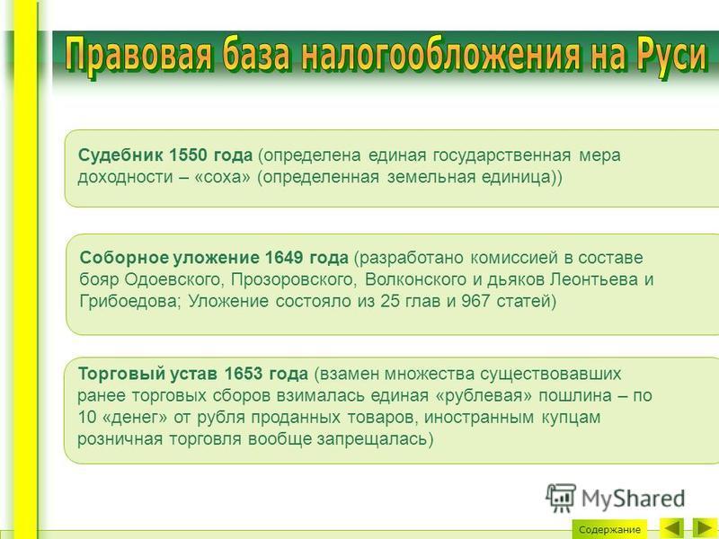 Судебник 1550 года (определена единая государственная мера доходности – «соха» (определенная земельная единица)) Соборное уложение 1649 года (разработано комиссией в составе бояр Одоевского, Прозоровского, Волконского и дьяков Леонтьева и Грибоедова;