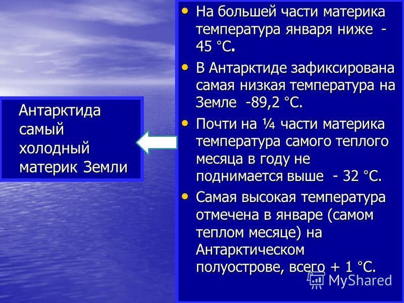 Антарктида самый холодный материк Земли Антарктида самый холодный материк Земли На большей части материка температура января ниже - 45 °С. На большей части материка температура января ниже - 45 °С. В Антарктиде зафиксирована самая низкая температура