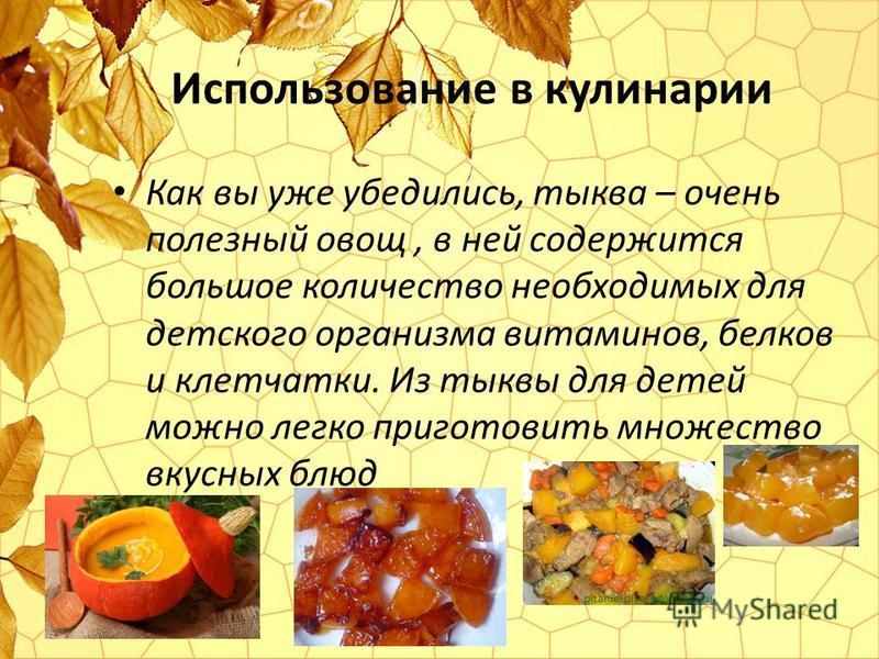 Использование в кулинарии Как вы уже убедились, тыква – очень полезный овощ, в ней содержится большое количество необходимых для детского организма витаминов, белков и клетчатки. Из тыквы для детей можно легко приготовить множество вкусных блюд