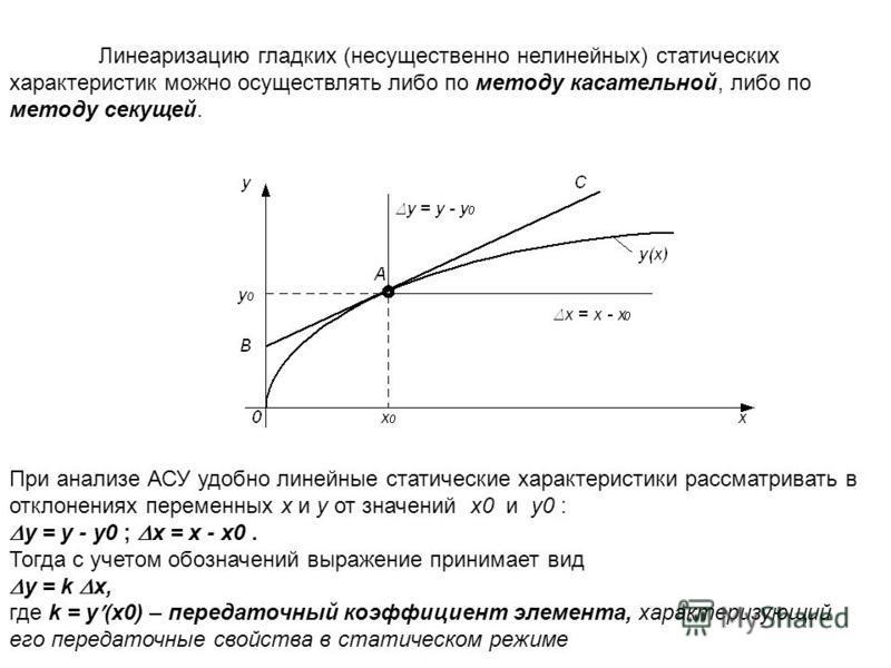 Линеаризацию гладких (несущественно нелинейных) статических характеристик можно осуществлять либо по методу касательной, либо по методу секущей. При анализе АСУ удобно линейные статические характеристики рассматривать в отклонениях переменных x и y о