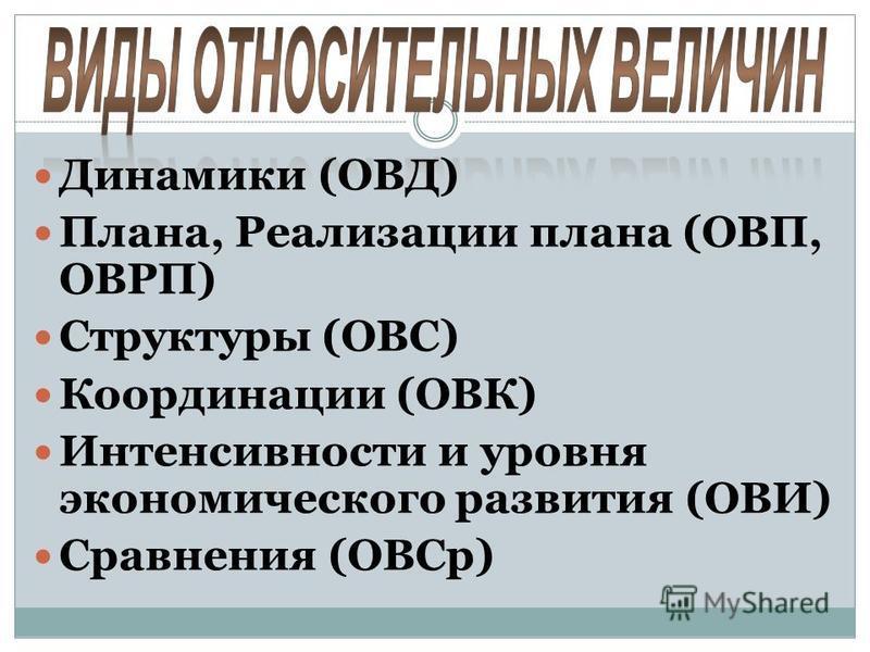 Динамики (ОВД) Плана, Реализации плана (ОВП, ОВРП) Структуры (ОВС) Координации (ОВК) Интенсивности и уровня экономического развития (ОВИ) Сравнения (ОВСр)
