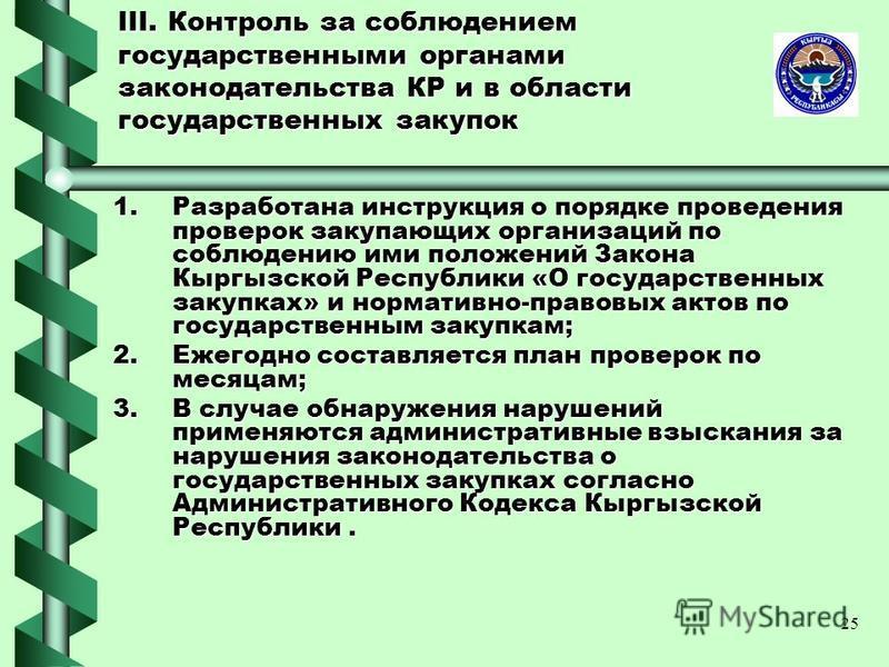 25 III. Контроль за соблюдением государственными органами законодательства КР и в области государственных закупок 1. Разработана инструкция о порядке проведения проверок закупающих организаций по соблюдению ими положений Закона Кыргызской Республики