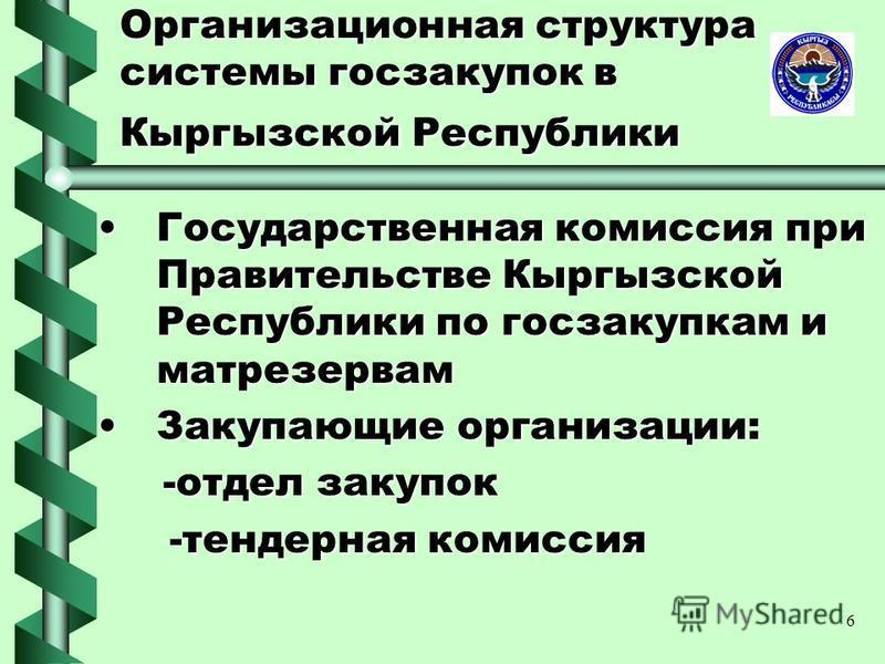 6 Организационная структура системы госзакупок в Кыргызской Республики Государственная комиссия при Правительстве Кыргызской Республики по госзакупкам и мат резервам Государственная комиссия при Правительстве Кыргызской Республики по госзакупкам и ма