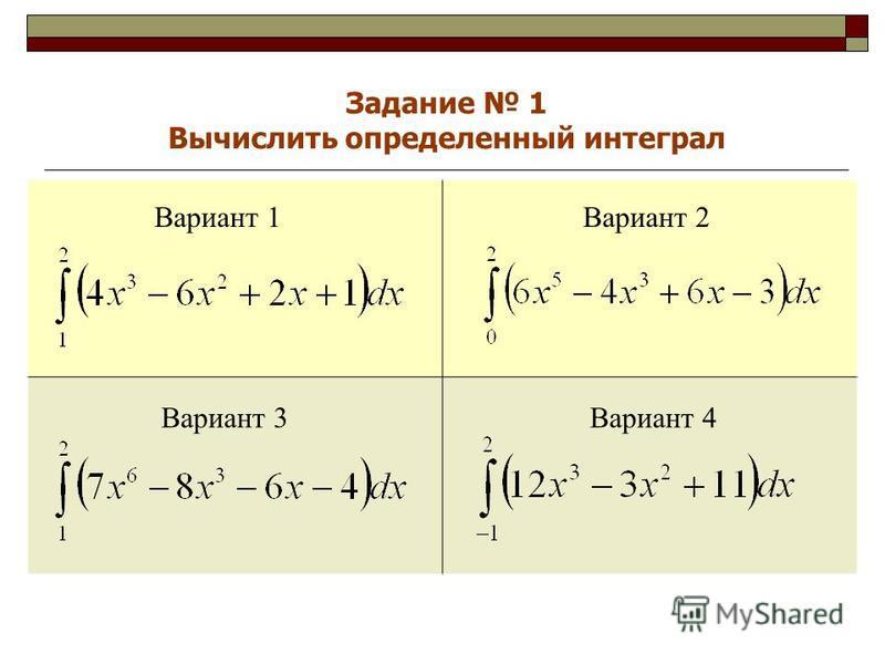 Вариант 1Вариант 2 Вариант 3Вариант 4 Задание 1 Вычислить определенный интеграл