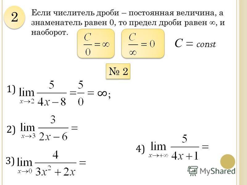 Если числитель дроби – постоянная величина, а знаменатель равен 0, то предел дроби равен, и наоборот. 2 2 2 2 1) С = const ; 2) 4) 3)