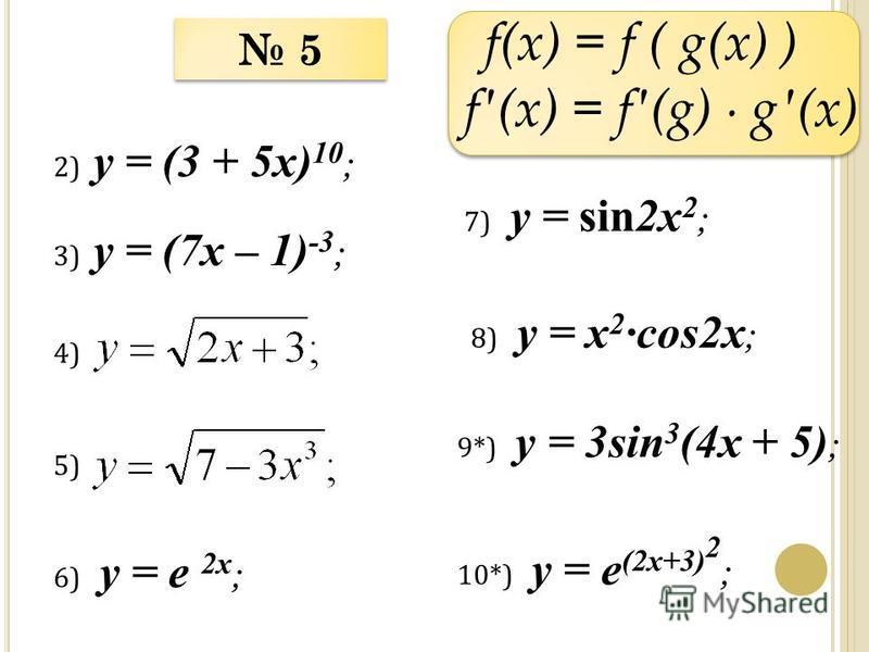 f(x) = f ( g(x) ) f(x) = f(g) g(x) 2) у = (3 + 5x) 10 ; 3) у = (7x – 1) -3 ; 5 5 4)4) 5)5) 6) у = e 2x ; 7) у = sin2x 2 ; 8) у = x 2 cos2x ; 9*) у = 3sin 3 (4x + 5) ; 10*) у = e (2x+3) 2 ;