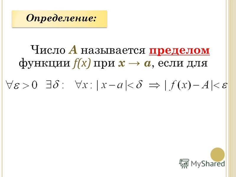 Число А называется пределом функции f(x) при х а, если для Определение: