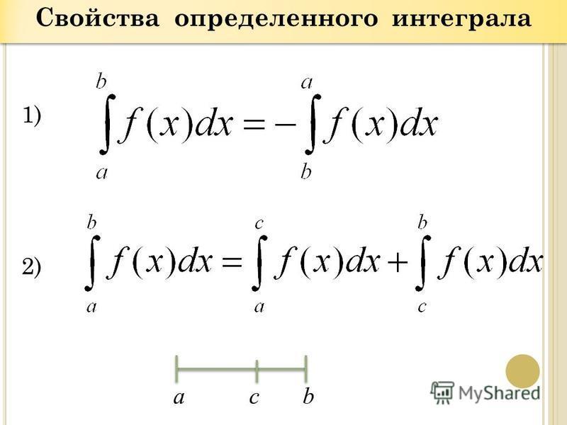 Свойства определенного интеграла 1) 2) аcb