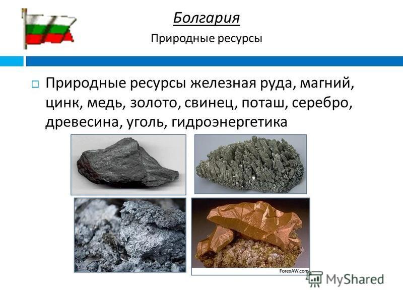 Природные ресурсы железная руда, магний, цинк, медь, золото, свинец, поташ, серебро, древесина, уголь, гидроэнергетика Болгария Природные ресурсы