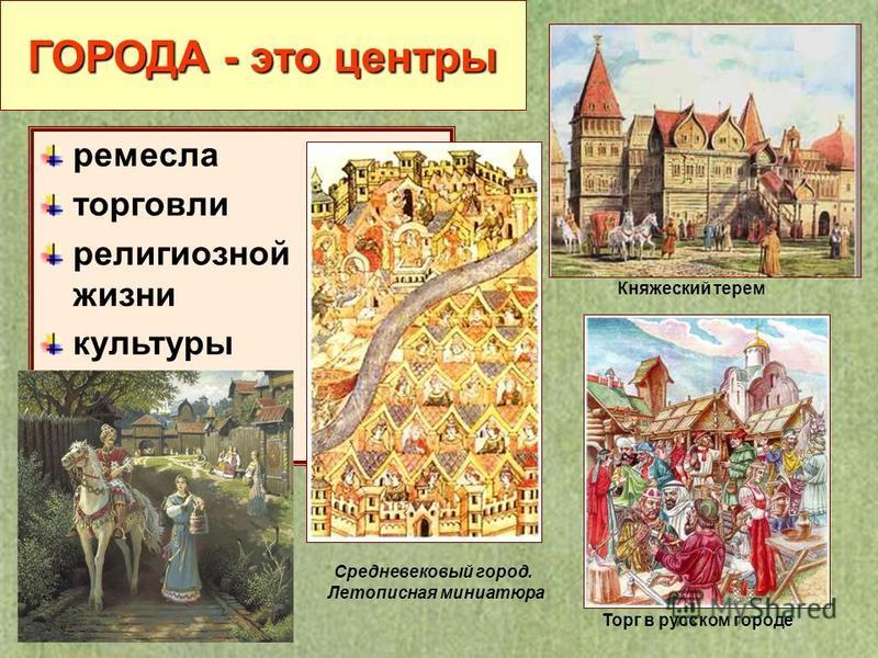 ГОРОДА - это центры ремесла торговли религиозной жизни культуры Средневековый город. Летописная миниатюра Торг в русском городе Княжеский терем