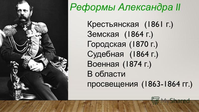 Реформы Александра II Крестьянская (1861 г.) Земская (1864 г.) Городская (1870 г.) Судебная (1864 г.) Военная (1874 г.) В области просвещения (1863-1864 гг.)