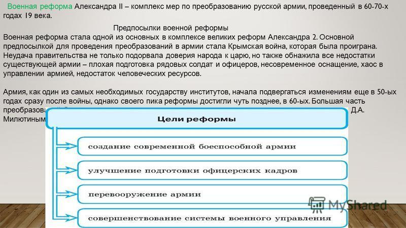 Военная реформа Александра II – комплекс мер по преобразованию русской армии, проведенный в 60-70- х годах 19 века. Предпосылки военной реформы Военная реформа стала одной из основных в комплексе великих реформ Александра 2. Основной предпосылкой для