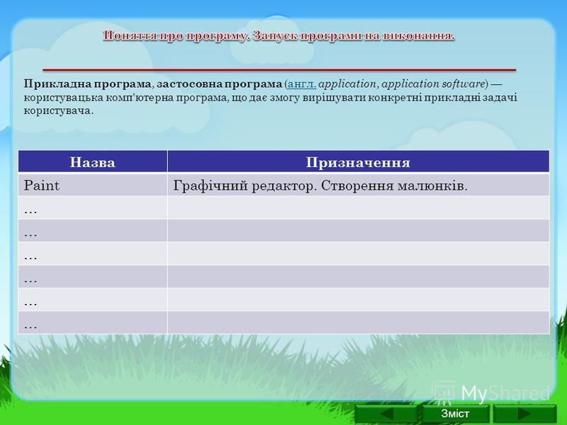 Прикладна програма, застосовна програма (англ. application, application software ) користувацька комп'ютерна програма, що дає змогу вирішувати конкретні прикладні задачі користувача.англ. НазваПризначення PaintГрафічний редактор. Створення малюнків.