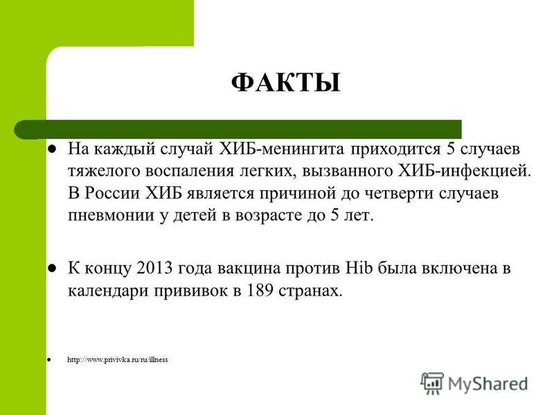 ФАКТЫ На каждый случай ХИБ-менингита приходится 5 случаев тяжелого воспаления легких, вызванного ХИБ-инфекцией. В России ХИБ является причиной до четверти случаев пневмонии у детей в возрасте до 5 лет. К концу 2013 года вакцина против Hib была включе