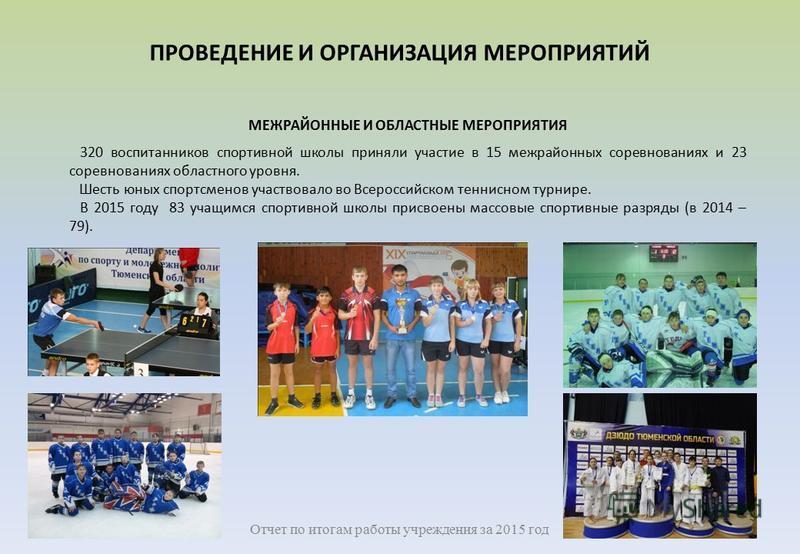 МЕЖРАЙОННЫЕ И ОБЛАСТНЫЕ МЕРОПРИЯТИЯ 320 воспитанников спортивной школы приняли участие в 15 межрайонных соревнованиях и 23 соревнованиях областного уровня. Шесть юных спортсменов участвовало во Всероссийском теннисном турнире. В 2015 году 83 учащимся