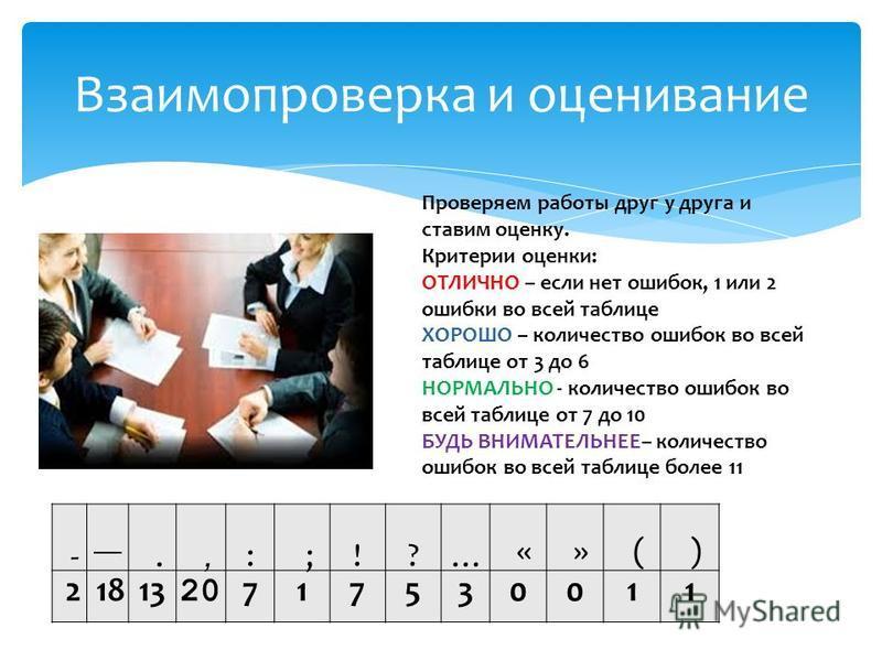 Взаимопроверка и оценивание Проверяем работы друг у друга и ставим оценку. Критерии оценки: ОТЛИЧНО – если нет ошибок, 1 или 2 ошибки во всей таблице ХОРОШО – количество ошибок во всей таблице от 3 до 6 НОРМАЛЬНО - количество ошибок во всей таблице о