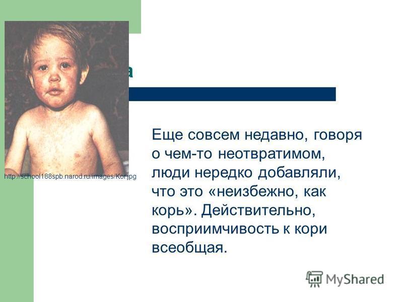 картинка http://school188spb.narod.ru/images/Kor.jpg Еще совсем недавно, говоря о чем-то неотвратимом, люди нередко добавляли, что это «неизбежно, как корь». Действительно, восприимчивость к кори всеобщая.