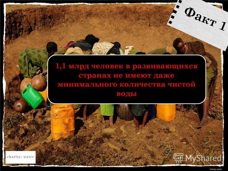 1,1 млрд человек в развивающихся странах не имеют даже минимального количества чистой воды Факт 1
