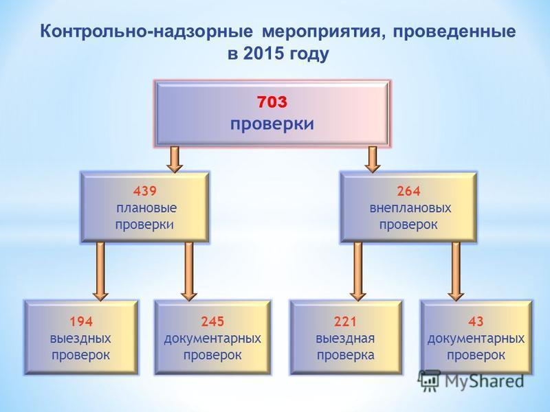 703 проверки 439 плановые проверки 264 внеплановых проверок 245 документарных проверок 194 выездных проверок 43 документарных проверок 221 выездная проверка