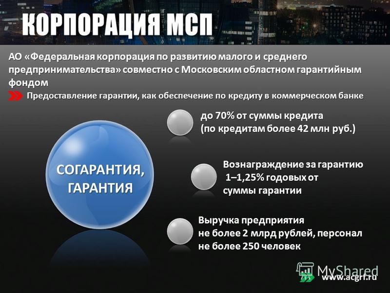 АО «Федеральная корпорация по развитию малого и среднего предпринимательства» совместно с Московским областном гарантийным фондом www.acgrf.ru Предоставление гарантии, как обеспечение по кредиту в коммерческом банке до 70% от суммы кредита до 70% от
