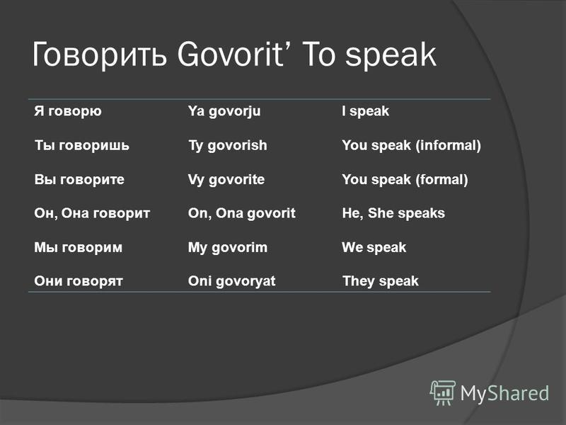 Говорить Govorit To speak Я говорю Ты говоришь Вы говорите Он, Она говорит Мы говорим Они говорят Ya govorju Ty govorish Vy govorite On, Ona govorit My govorim Oni govoryat I speak You speak (informal) You speak (formal) He, She speaks We speak They