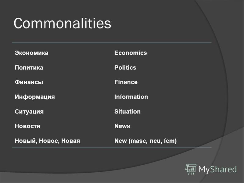 Commonalities Экономика Политика Финансы Информация Ситуация Новости Новый, Новое, Новая Economics Politics Finance Information Situation News New (masc, neu, fem)