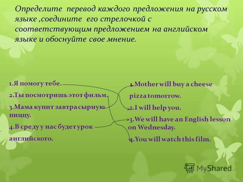 Определите перевод каждого предложения на русском языке,соедините его стрелочкой с соответствующим предложением на английском языке и обоснуйте свое мнение. 1. Я помогу тебе. 2. Ты посмотришь этот фильм. 3. Мама купит завтра сырную пиццу. 4. В среду