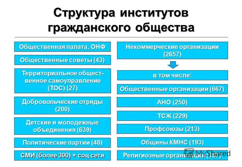 Структура институтов гражданского общества 6 Общественная палата, ОНФ Территориальное общественное самоуправление (ТОС) (27) Некоммерческие организации (2657) Общественные советы (43) Добровольческие отряды (200) Детские и молодежные объединения (639