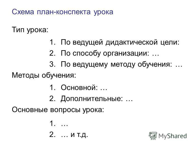 Схема план-конспекта урока Тип урока: 1. По ведущей дидактической цели: 2. По способу организации: … 3. По ведущему методу обучения: … Методы обучения: 1.Основной: … 2.Дополнительиные: … Основиные вопросы урока: 1.… 2.… и т.д.