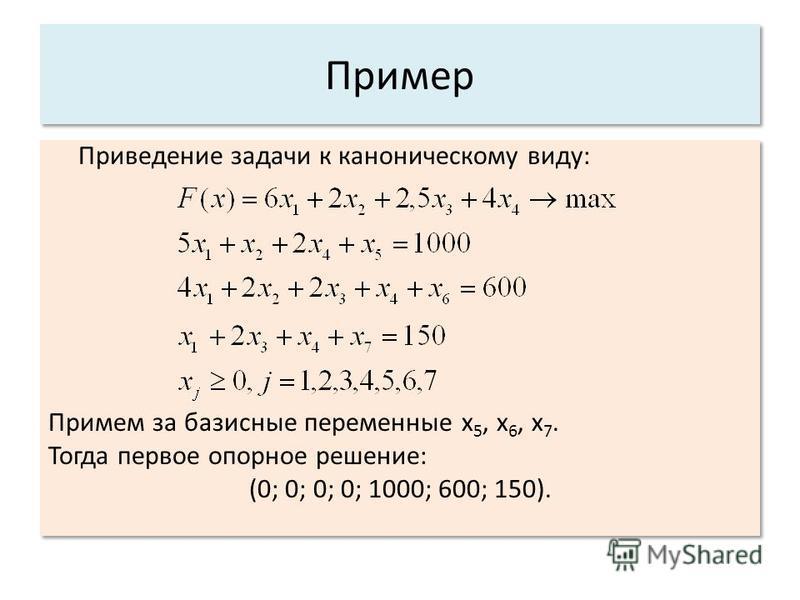 Пример Приведение задачи к каноническому виду: Примем за базисные переменные x 5, x 6, x 7. Тогда первое опорное решение: (0; 0; 0; 0; 1000; 600; 150). Приведение задачи к каноническому виду: Примем за базисные переменные x 5, x 6, x 7. Тогда первое