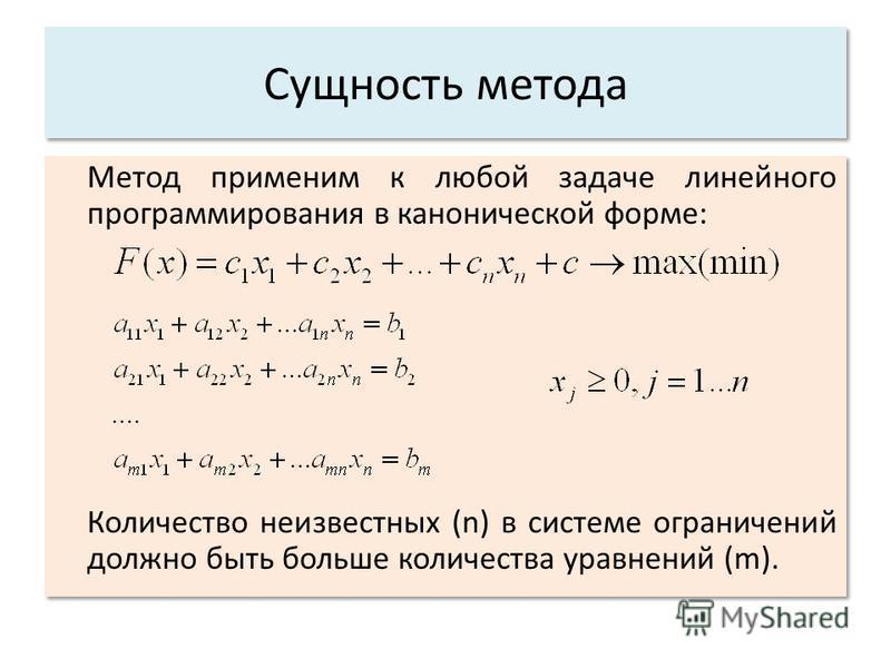 Сущность метода Метод применим к любой задаче линейного программирования в канонической форме: Количество неизвестных (n) в системе ограничений должно быть больше количества уравнений (m). Метод применим к любой задаче линейного программирования в ка