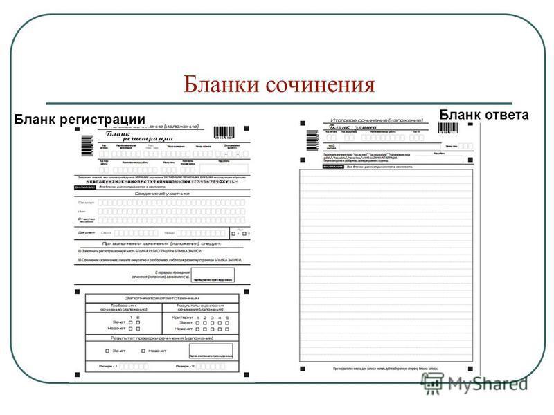 Бланки сочинения Бланк регистрации Бланк ответа