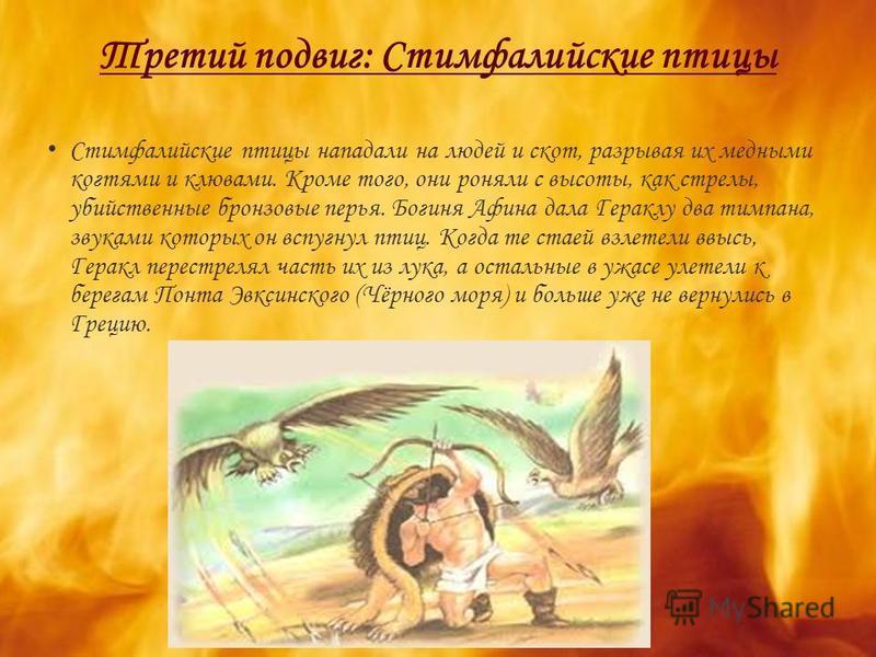 Третий подвиг: Стимфалийские птицы Стимфалийские птицы нападали на людей и скот, разрывая их медными когтями и клювами. Кроме того, они роняли с высоты, как стрелы, убийственные бронзовые перья. Богиня Афина дала Гераклу два тимпана, звуками которых