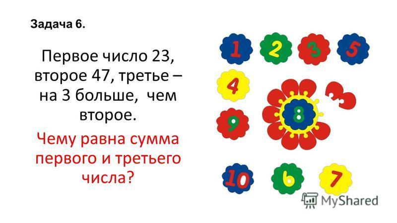 Задача 6. Первое число 23, второе 47, третье – на 3 больше, чем второе. Чему равна сумма первого и третьего числа?