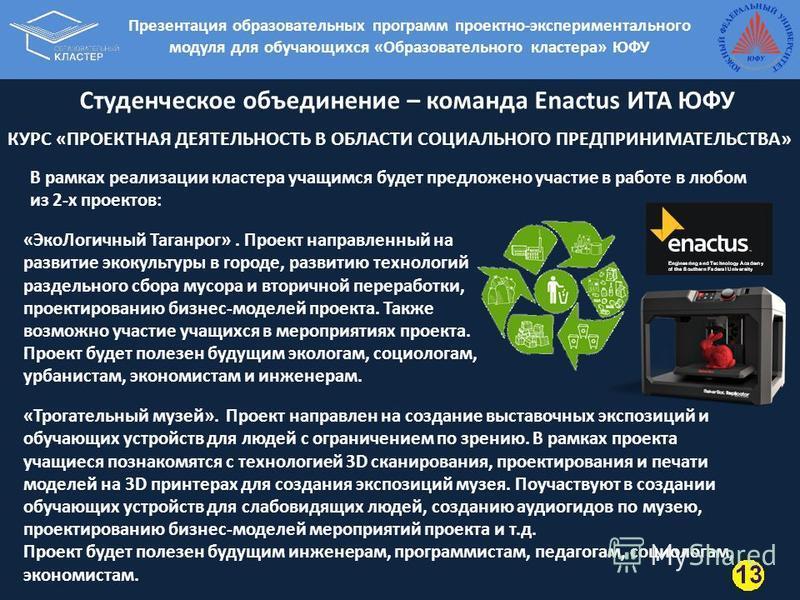 Студенческое объединение – команда Enactus ИТА ЮФУ «Эко Логичный Таганрог». Проект направленный на развитие экокультуры в городе, развитию технологий раздельного сбора мусора и вторичной переработки, проектированию бизнес-моделей проекта. Также возмо