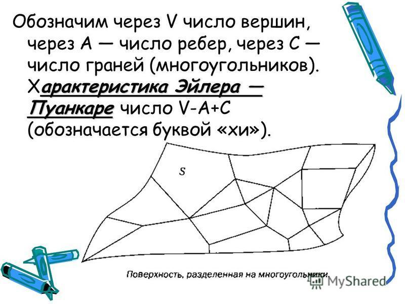 арактеристика Эйлера Пуанкаре Обозначим через V число вершин, через А число ребер, через С число граней (многоугольников). Характеристика Эйлера Пуанкаре число V-A+C (обозначается буквой «хи»).