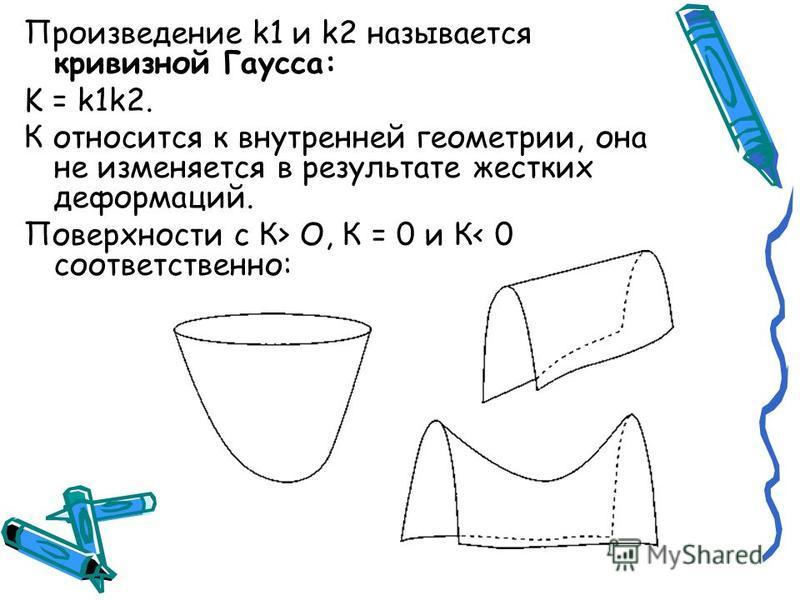 Произведение k1 и k2 называется кривизной Гаусса: K = k1k2. К относится к внутренней геометрии, она не изменяется в результате жестких деформаций. Поверхности с К> О, К = 0 и К< 0 соответственно: