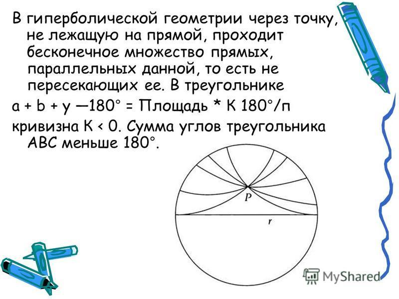 В гиперболической геометрии через точку, не лежащую на прямой, проходит бесконечное множество прямых, параллельных данной, то есть не пересекающих ее. В треугольнике а + b + y 180° = Площадь * К 180°/п кривизна К < 0. Сумма углов треугольника ABC мен