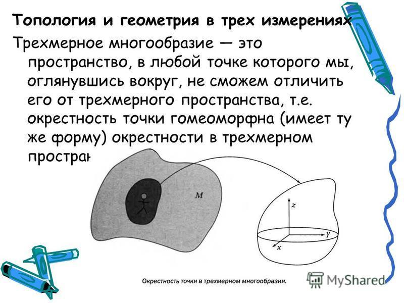 Топология и геометрия в трех измерениях Трехмерное многообразие это пространство, в любой точке которого мы, оглянувшись вокруг, не сможем отличить его от трехмерного пространства, т.е. окрестность точки гомеоморфна (имеет ту же форму) окрестности в