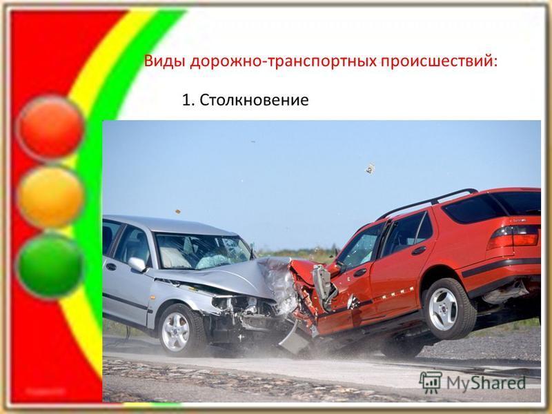 Виды дорожно-транспортных происшествий: 1. Столкновение