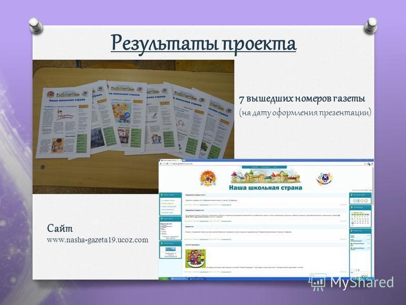 Результаты проекта 7 вышедших номеров газеты (на дату оформления презентации) Сайт www.nasha-gazeta19.ucoz.com