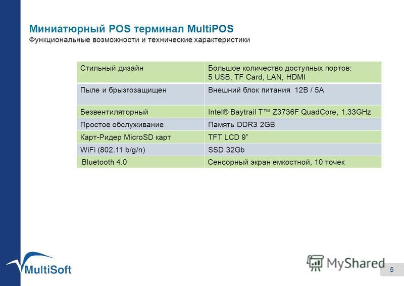 Миниатюрный POS терминал MultiPOS Функциональные возможности и технические характеристики 5 Стильный дизайн Большое количество доступных портов: 5 USB, TF Card, LAN, HDMI Пыле и брызгозащищен Внешний блок питания 12В / 5А БезвентиляторныйIntel® Baytr