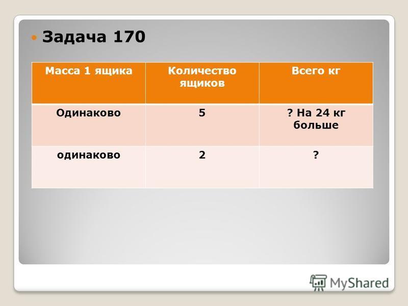 Задача 170 Масса 1 ящика Количество ящиков Всего кг Одинаково 5? На 24 кг больше одинаково 2?