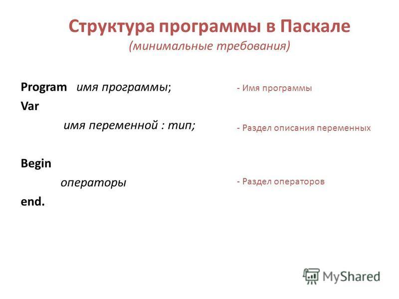 Структура программы в Паскале (минимальные требования) Program имя программы; Var имя переменной : тип; Begin операторы end. - Имя программы - Раздел описания переменных - Раздел операторов