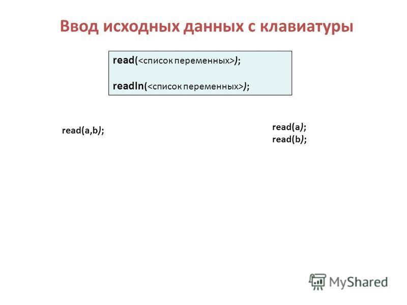 Ввод исходных данных с клавиатуры read (<список переменных>); readln (<список переменных>); read(a,b); read(a); read(b);